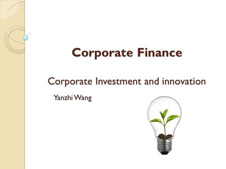 Corporate Finance Corporate Investment and innovation Yanzhi Wang.