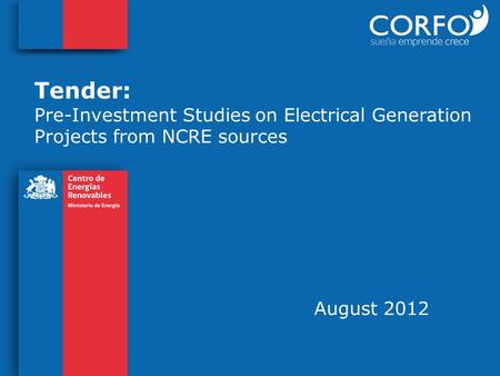 Tender: Pre-Investment Studies on Electrical Generation Projects from NCRE sources August 2012.