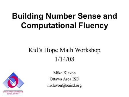Building Number Sense and Computational Fluency