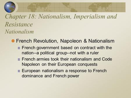 Chapter 18: Nationalism, Imperialism and Resistance Nationalism