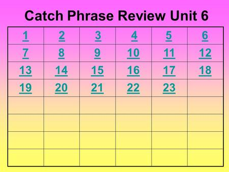 6 789101112 131415161718 1920212223 Catch Phrase Review Unit 6 54321.