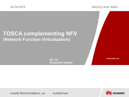 TOSCA complementing NFV (Network Function Virtualization)