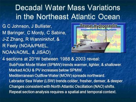 Decadal Water Mass Variations in the Northeast Atlantic Ocean G C Johnson, J Bullister, M Baringer, C Mordy, C Sabine, J-Z Zhang, R Wanninkhof, & R Feely.