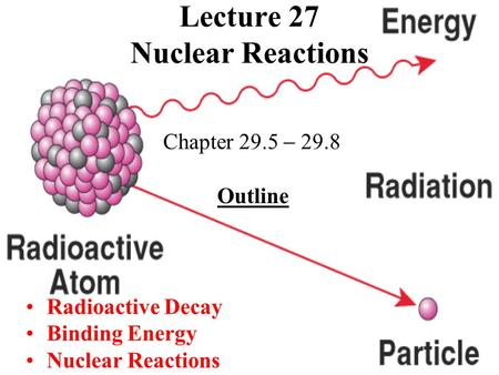 Lecture 27 Nuclear Reactions Chapter 29.5  29.8 Outline Radioactive Decay Binding Energy Nuclear Reactions.