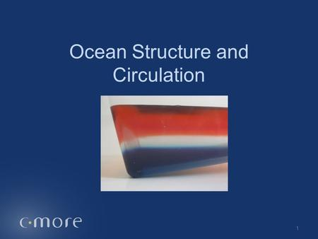 Ocean Structure and Circulation 1. Ocean Model Temperature Depth Surface Deeper WarmerColder 2.