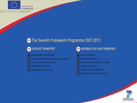 The Seventh Framework Programme 2007-2013 AERONAUTICS & AIR TRANSPORT Greening air transport Increasing time efficiency Ensuring customer satisfaction.