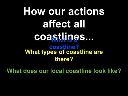 How our actions affect all coastlines... What does our local coastline look like? What is a coastline? What types of coastline are there?