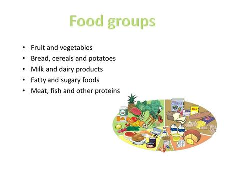 Fruit and vegetables Bread, cereals and potatoes Milk and dairy products Fatty and sugary foods Meat, fish and other proteins.