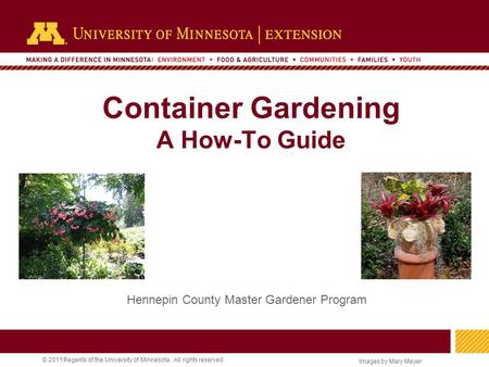 1 © 2011 Regents of the University of Minnesota. All rights reserved. 11 Container Gardening A How-To Guide Hennepin County Master Gardener Program Images.