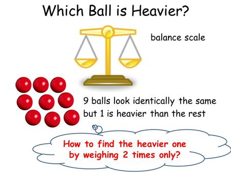 Which Ball is Heavier? 9 balls look identically the same but 1 is heavier than the rest balance scale How to find the heavier one by weighing 2 times only?