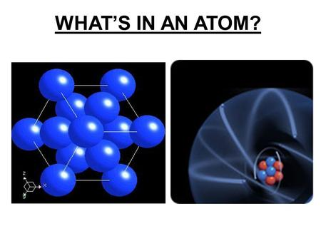 WHAT'S IN AN ATOM?. MATTER Atom ~10 -10 mNucleus ~10 -15 mQuarks <10 -18 m.