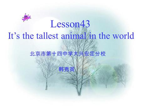 Lesson43 It's the tallest animal in the world 北京市第十四中学大兴安定分校 韩秀英.