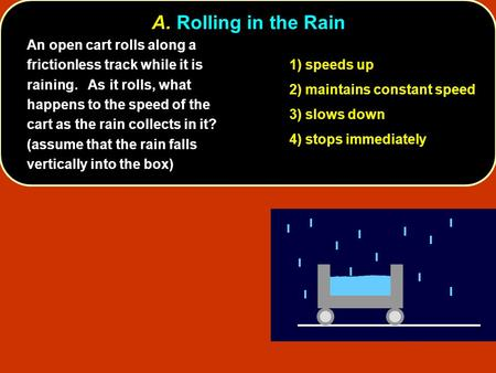 A. Rolling in the Rain An open cart rolls along a frictionless track while it is raining. As it rolls, what happens to the speed of the cart as the rain.