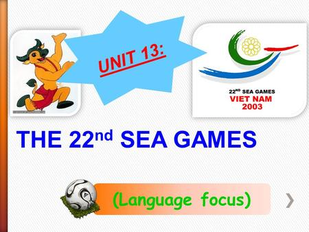 THE 22 nd SEA GAMES (Language focus) UNIT 13:. What does the mother do? She wakes her son up.