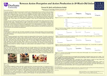 Links Between Action Perception and Action Production in 10-Week-Old Infants Vincent M. Reid 1 and Katharina Kaduk 1 Department of Psychology, Durham University,