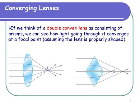 1 Converging Lenses  If we think of a double convex lens as consisting of prisms, we can see how light going through it converges at a focal point (assuming.