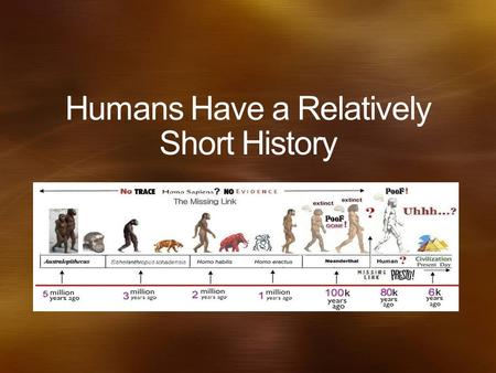 Humans Have a Relatively Short History