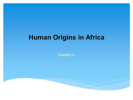 Human Origins in Africa Chapter 1.1.  Describe key scientific findings about human origins  List human achievements during the Stone Age  Describe.