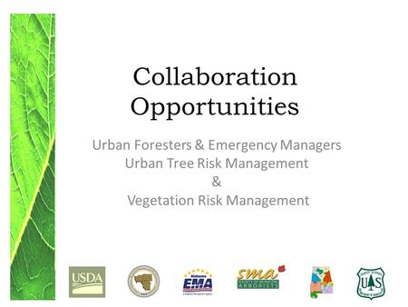 Collaboration Opportunities Urban Foresters & Emergency Managers Urban Tree Risk Management & Vegetation Risk Management.