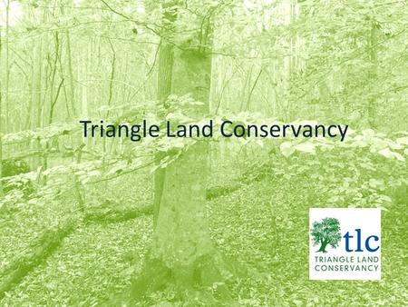 Triangle Land Conservancy. Triangle Land Conservancy (TLC) is a local non-profit land trust serving Wake, Johnston, Chatham, Lee, Orange and Durham counties.