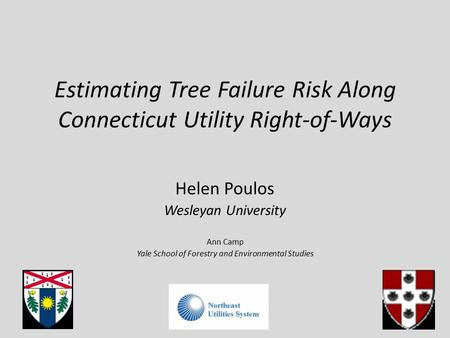 Estimating Tree Failure Risk Along Connecticut Utility Right-of-Ways Helen Poulos Wesleyan University Ann Camp Yale School of Forestry and Environmental.