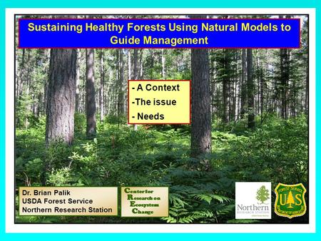 Sustaining Healthy Forests Using Natural Models to Guide Management Dr. Brian Palik USDA Forest Service Northern Research Station - A Context -The issue.