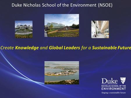 Duke Nicholas School of the Environment (NSOE) Create Knowledge and Global Leaders for a Sustainable Future.