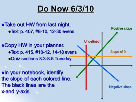 Do Now 6/3/10 Take out HW from last night. Take out HW from last night. Text p. 407, #8-10, 12-30 evens Text p. 407, #8-10, 12-30 evens Copy HW in your.