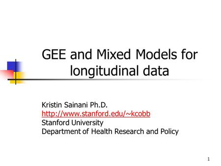 GEE and Mixed Models for longitudinal data