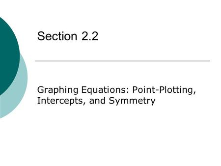 Graphing Equations: Point-Plotting, Intercepts, and Symmetry