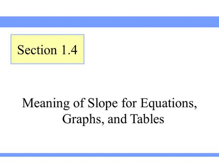 Meaning of Slope for Equations, Graphs, and Tables