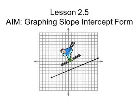 Lesson 2.5 AIM: Graphing Slope Intercept Form. SLOPE INTERCEPT FORM y = mx + b m = slope (how steep the line is) b = y-intercept (where it crosses the.
