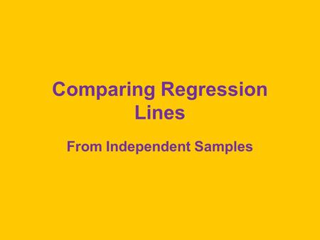 Comparing Regression Lines