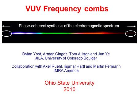 Dylan Yost, Arman Cingoz, Tom Allison and Jun Ye JILA, University of Colorado Boulder Collaboration with Axel Ruehl, Ingmar Hartl and Martin Fermann IMRA.