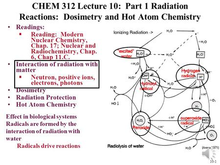 10-1 CHEM 312 Lecture 10: Part 1 Radiation Reactions: Dosimetry and Hot Atom Chemistry Readings: §Reading: Modern Nuclear Chemistry, Chap. 17; Nuclear.
