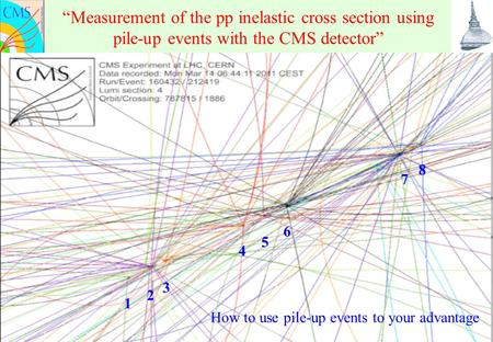 "June 6 th, 2011 N. Cartiglia 1 ""Measurement of the pp inelastic cross section using pile-up events with the CMS detector"" 1 2 4 3 8 5 6 7 How to use pile-up."