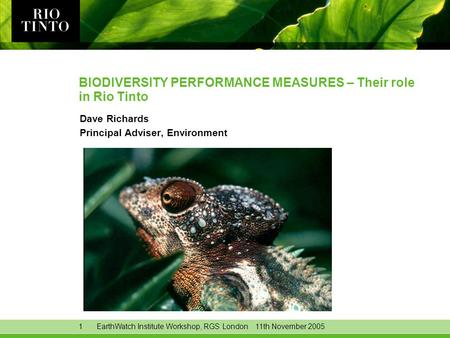 1EarthWatch Institute Workshop, RGS London 11th November 2005 BIODIVERSITY PERFORMANCE MEASURES – Their role in Rio Tinto Dave Richards Principal Adviser,