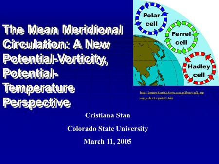 The Mean Meridional Circulation: A New Potential-Vorticity, Potential- Temperature Perspective Cristiana Stan Colorado State University March 11, 2005.