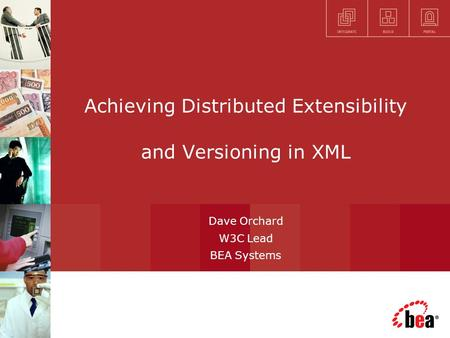 Achieving Distributed Extensibility and Versioning in XML Dave Orchard W3C Lead BEA Systems.