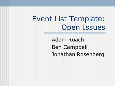 open issues list template