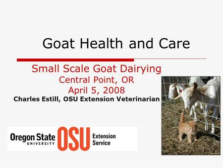 Goat Health and Care Small Scale Goat Dairying Central Point, OR April 5, 2008 Charles Estill, OSU Extension Veterinarian.