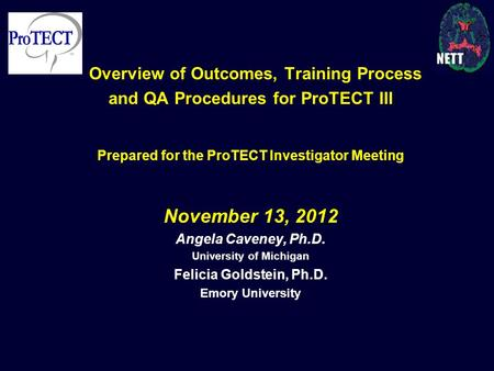 Overview of Outcomes, Training Process and QA Procedures for ProTECT III Prepared for the ProTECT Investigator Meeting November 13, 2012 Angela Caveney,