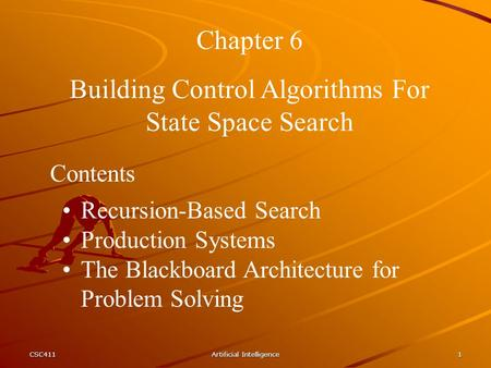 Building Control Algorithms For State Space Search