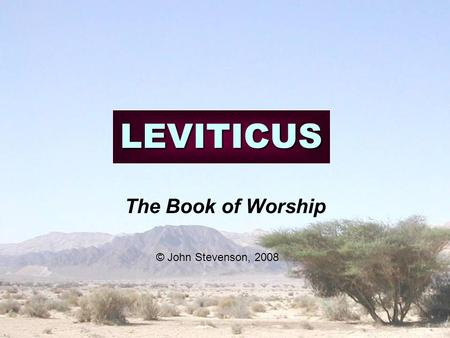 LEVITICUS The Book of Worship © John Stevenson, 2008.