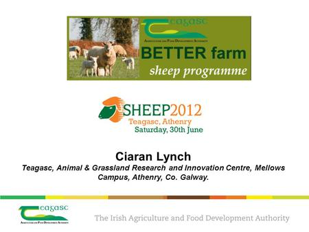 Ciaran Lynch Teagasc, Animal & Grassland Research and Innovation Centre, Mellows Campus, Athenry, Co. Galway.