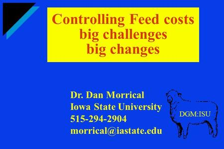 Controlling Feed costs big challenges big changes DGM:ISU Dr. Dan Morrical Iowa State University 515-294-2904