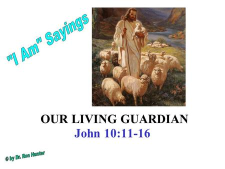 OUR LIVING GUARDIAN John 10:11-16. I am the good shepherd. The good shepherd lays down his life for the sheep. 12 The hired hand is not the shepherd who.