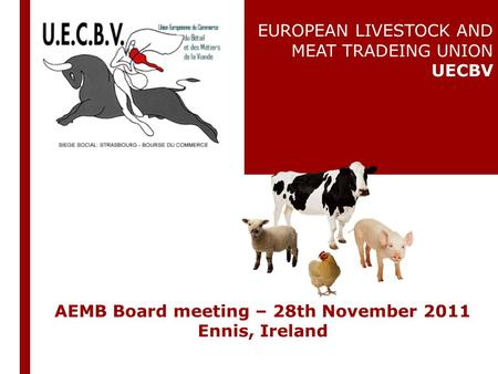 AEMB Board meeting – 28th November 2011 Ennis, Ireland EUROPEAN LIVESTOCK AND MEAT TRADEING UNION UECBV.
