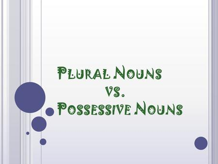 P LURAL N OUNS VS. P OSSESSIVE N OUNS P LURAL NOUNS Name more than one person, place, thing, idea, or animal.