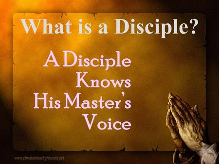 What is a Disciple? A Disciple Knows His Master's Voice.